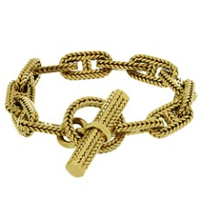 HERMES George L'Enfant Chain d'Ancre 18k Yellow Gold Large Bracelet