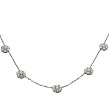 VAN CLEEF & ARPELS Fleurette 18k White Gold Necklace, 5 flowers, Large Model