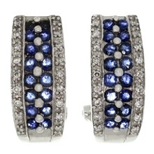 Blue Sapphire Diamond 14k White Gold Wrap Earrings