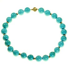 Natural Turquoise Beads 14k Gold Necklace GIA