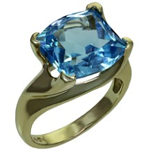 Laser-Cut Blue Topaz 14k Yellow Gold Cocktail Ring