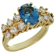 Blue Topaz Diamond 14k Yellow Gold Ring