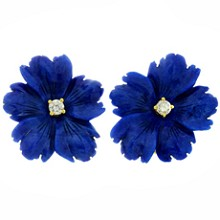 TIFFANY & CO. Paloma Picasso Lapis Lazuli 18k Yellow Gold Flower Earrings 1983