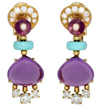 BULGARI Mediterranean Eden Diamond Amethyst Turquoise 18k Yellow Gold Earrings