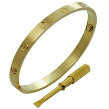 CARTIER Love 18k Yellow Gold New Style Bracelet Size 20 Box Papers