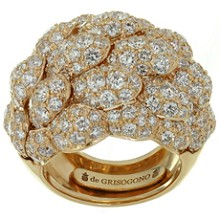 DE GRISOGONO Diamond 18k Rose Gold Dome Ring
