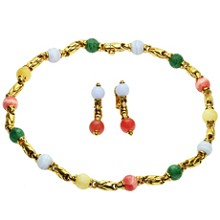 BULGARI Gemstone 18k Yellow Gold Bead Link Necklace & Earrings Set