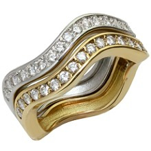 CARTIER Love Me Diamond 18k White & Yellow Gold Stackable Rings Pair