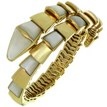 BULGARI Serpenti Mother-of-Pearl 18k Yellow Gold Wrap Snake Bracelet. Sz. M