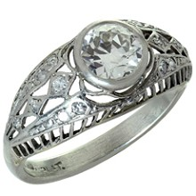 Diamond Platinum Filligree Engagement Ring