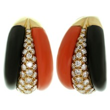 VOURAKIS Natural Coral Black Onyx Diamond Clip-on Earrings. Attributted to Van Cleef And Arpels