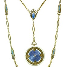 Antique Art Nouveau Whiteside & Blank Blue Enamel Guilloche 14k Gold Chain Locket Pendant