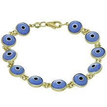 Double Sided Enamel Evil Eye 14k Yellow Gold Bracelet