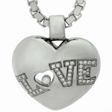CHOPARD Love Heart Pendant Diamond 18k White Gold Box Chain Necklace