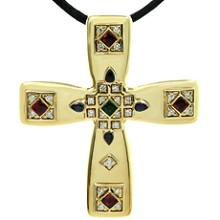 CARTIER Byzantine Multicolor Gemstone Diamonds 18k Yellow Gold Cross Pendant Brooch