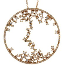 Contemporary Diamond 18k Rose Gold Round Pendant Necklace