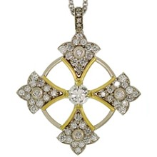 BALESTRA Diamond 14k White & Yellow Gold Patonce Cross Pendant Necklace