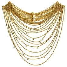 CARTIER Paris Nouvelle Vague Diamond 18k Yellow Gold Eighteen-Row Draperie Necklace