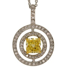 GRAFF Platinum Fancy Yellow Diamond White Diamond Pendant Necklace GIA
