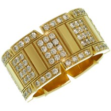 CARTIER Tank Francaise Diamond 18k Yellow Gold Large Band Ring