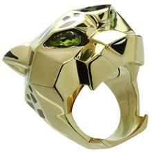 Panthère de CARTIER Lacquer Peridot Onyx Lacquer 18k Yellow Gold Ring