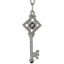 TIFFANY & CO. Diamond Black Enamel 18k White Gold Key Pendant Necklace