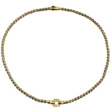 CARTIER Vintage Diamond 18k Yellow Gold Stainless Steel Necklace