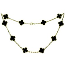 VAN CLEEF & ARPELS Vintage Alhambra 10 Motif Black Onyx 18k Yellow Gold Necklace Box Papers