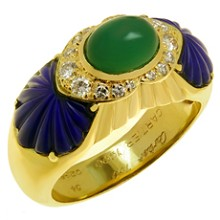 CARTIER Green Rhodochrosite Blue Lapis Lazuli Diamond Ring