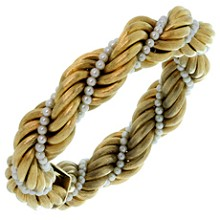 TIFFANY & CO. Cultured Pearl 18k Brushed Yellow Gold Twisted Rope Bracelet