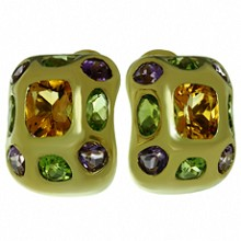 CHANEL Baroque Multicolor Gemstone 18k Yellow Gold Earrings