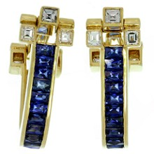 CARTIER Blue Sapphire Diamond 18k Yellow Gold Cufflinks