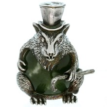 Julius Rappoport Russian Antique Imperial Nephrite Sterling Silver Rat Sculpture