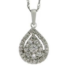 Mosaic Setting Diamond Pendant 14k White Gold Necklace