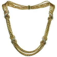 TIFFANY & CO. Diamond 14k Yellow Gold Multistrand Necklace