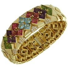 BULGARI Multicolor Gemstone 18k Yellow Gold Bracelet