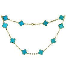 VAN CLEEF & ARPELS Vintage Alhambra Turquoise 18k Yellow Gold 10 Motif Necklace