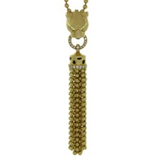 CARTIER Panthere Diamond Garnet Onyx Black Lacquer 18k Yellow Gold Necklace