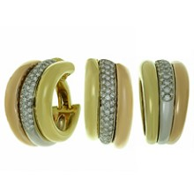 CARTIER Trinity Diamond 18k Multi-Tone Gold Large Earrings & Ring Set