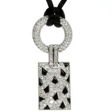 CARTIER Panthere Diamond Pave Onyx White Gold Pendant Satin Cord Necklace