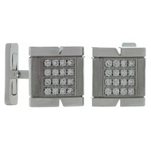 CARTIER Tank Francaise Diamond 18k White Gold Cufflinks