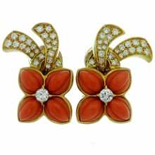 BOUCHERON Diamond Coral 18k Yellow Gold Vintage 1970s Earrings