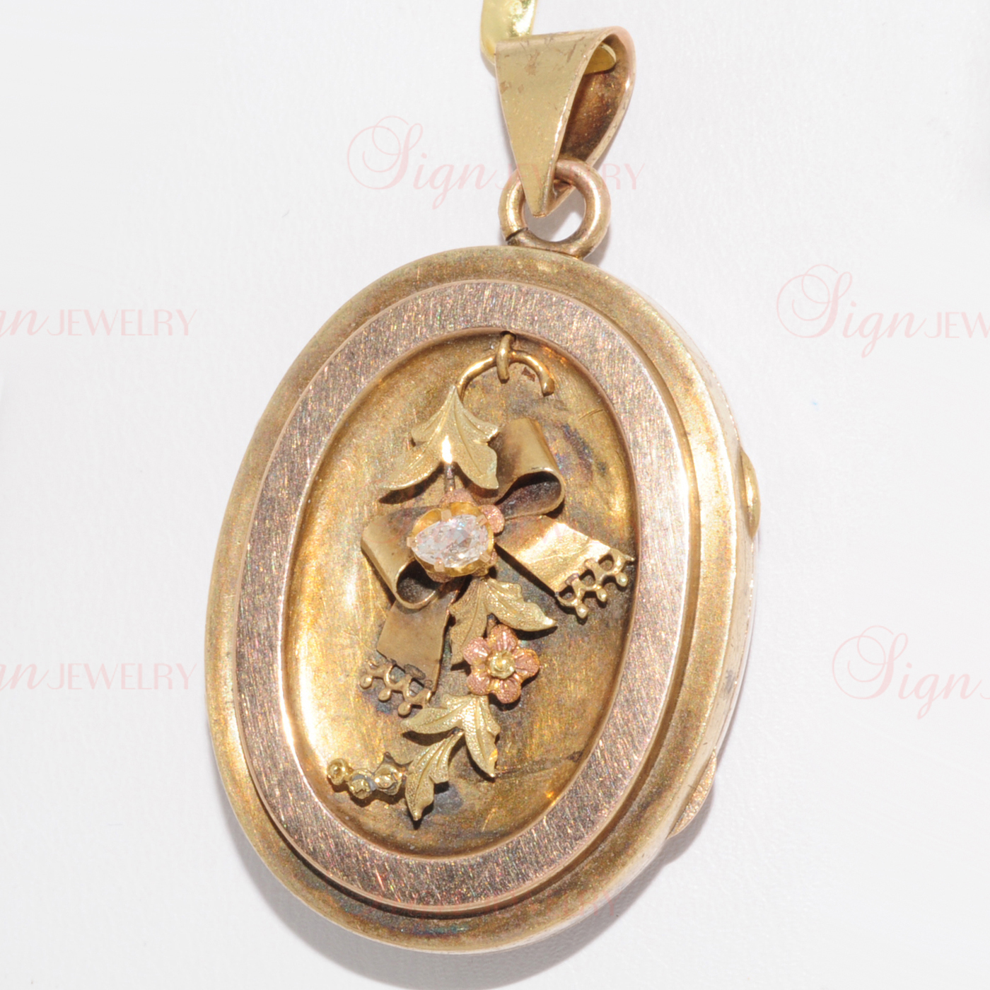 Victorian Antique 14k Tri-Color Gold Diamond Locket