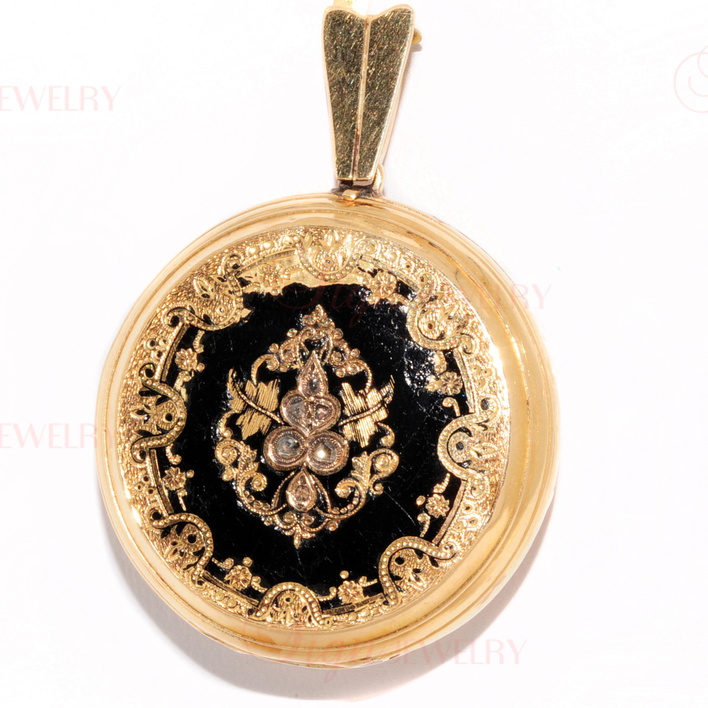 Victorian Antique 18k Yellow Gold Diamond Black Enamel Double Portrait Locket