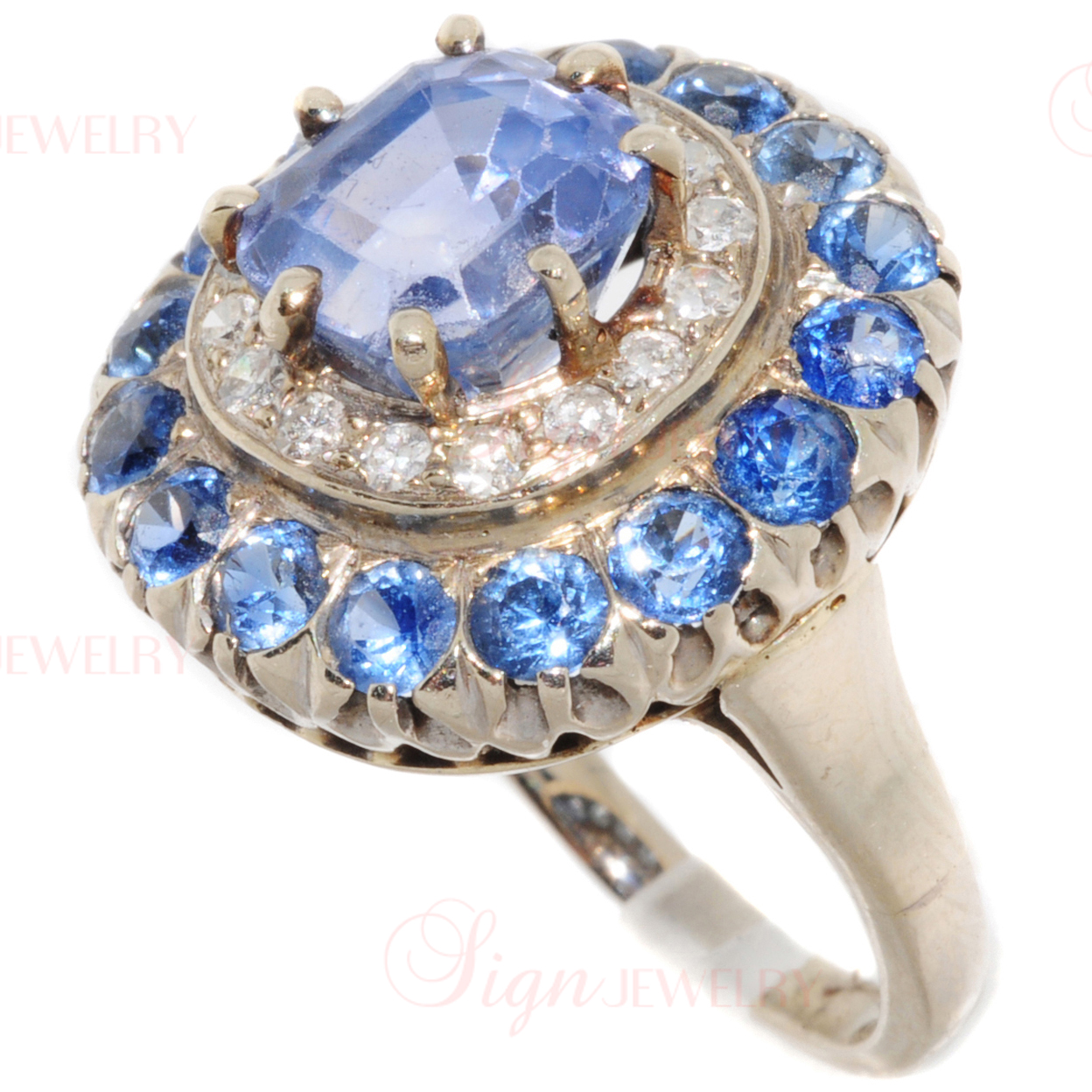 Retro 14k White Gold Blue Sapphire Diamond Cocktail Ring