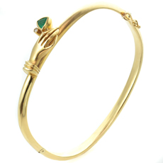 18k Yellow Gold Emerald Diamond Bangle Bracelet