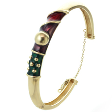 Multicolor Enamel 14k Yellow Gold Bangle Bracelet