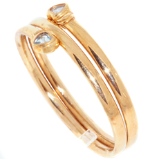 Two Hearts Blue Topaz 14k Yellow Gold Bangle Bracelet