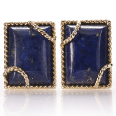 DAVID WEBB Lapis Lazuli 18k Yellow Gold Clip-on Earrings