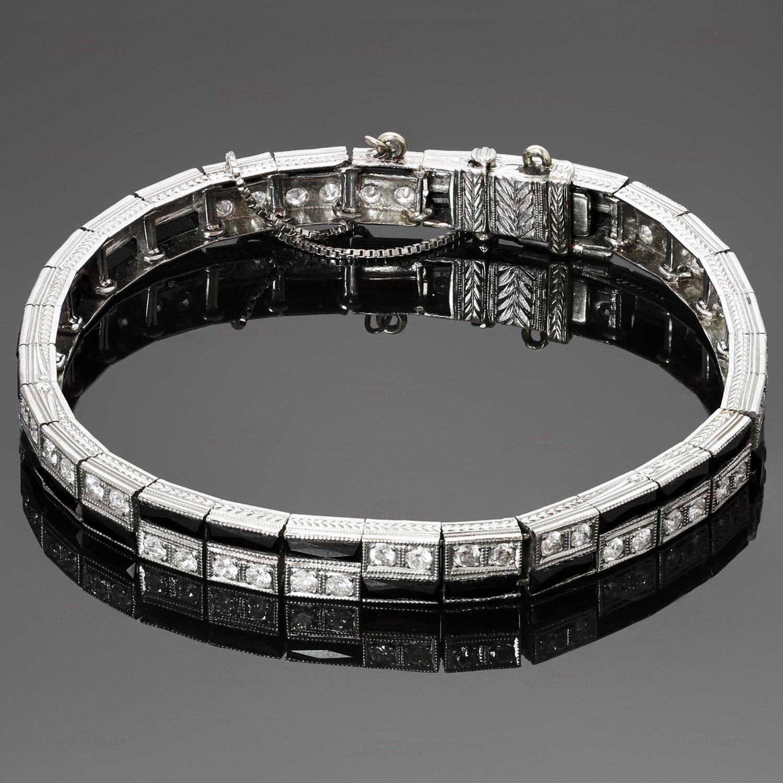 Tiffany Co Diamond Onyx Platinum Tennis Bracelet Mtsj1040